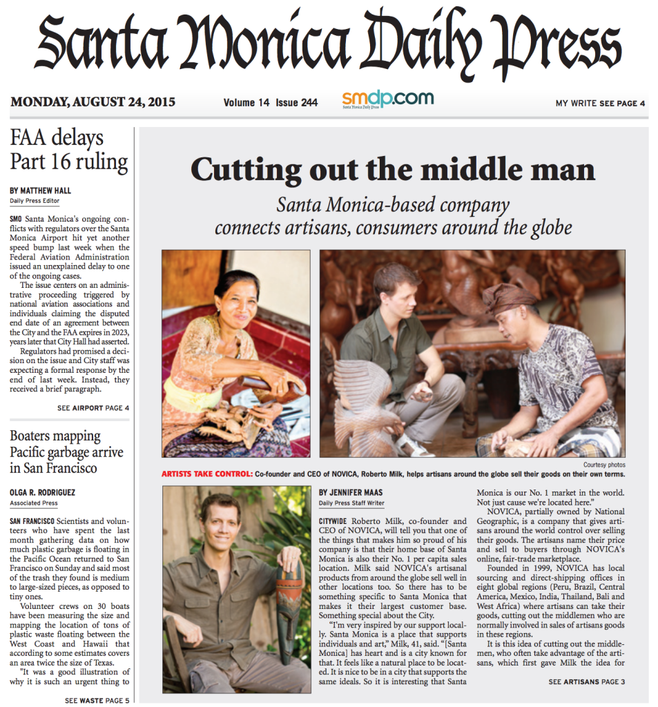 Santa Monica Daily Press features NOVICA