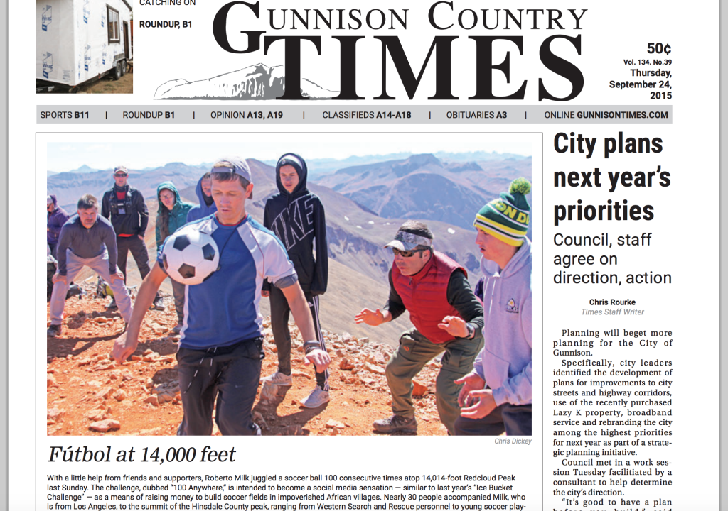 #100Anywhere is front page in Gunnison, Colorado!